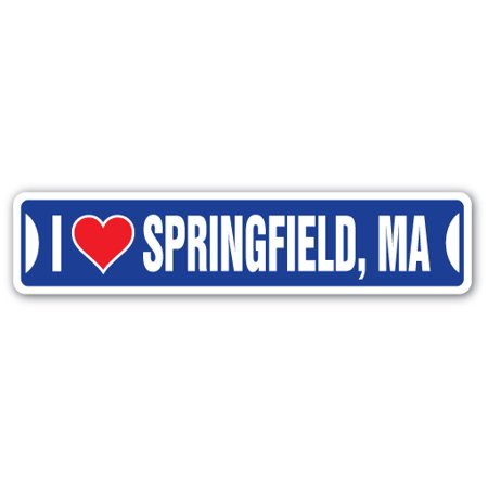 I LOVE SPRINGFIELD, MASSACHUSETTS Street Sign ma city state us wall road décor gift - Party City Springfield