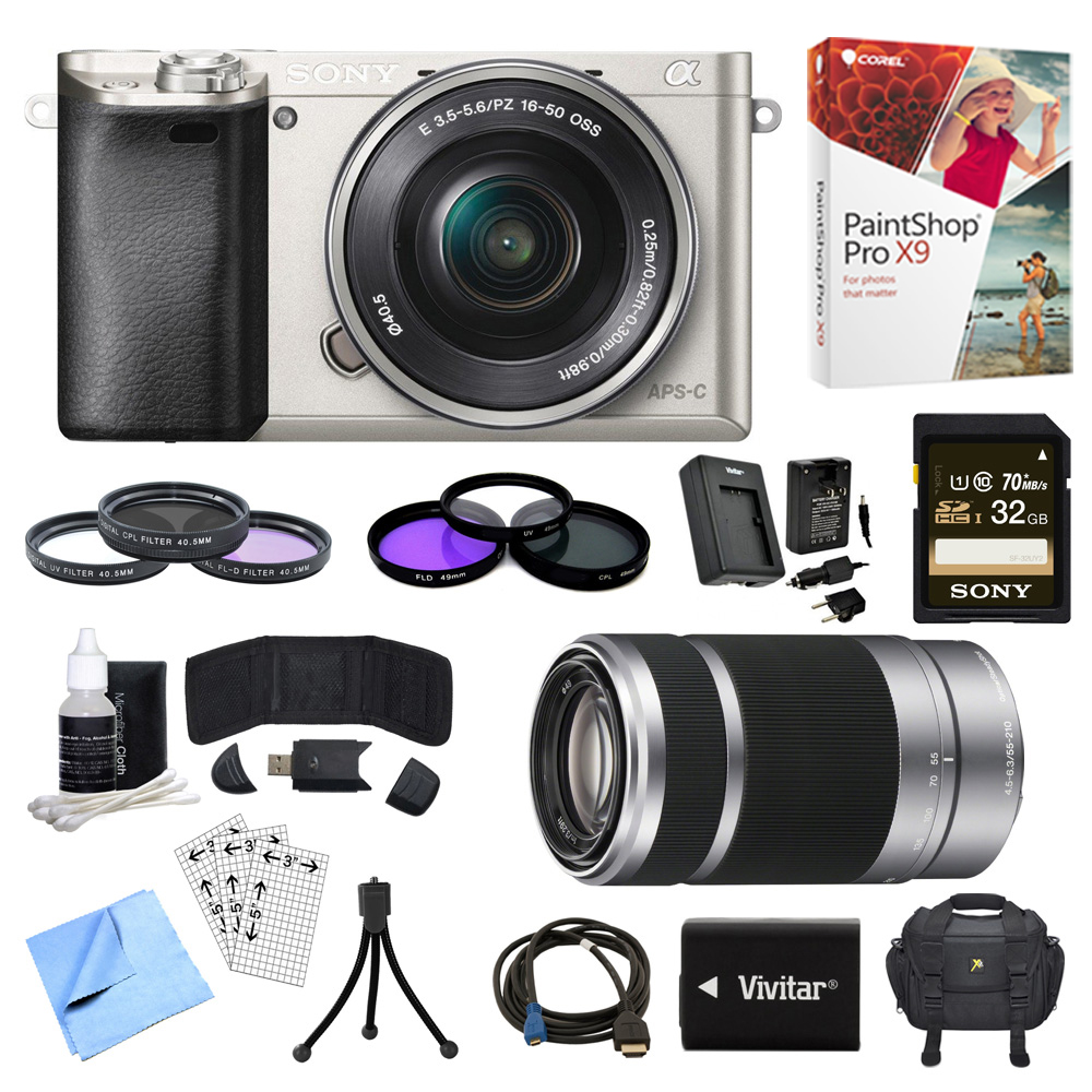 Sony Alpha a6000 Silver Camera with 16-50mm, 55-210mm Lenses and Accessories Bundle - Includes Camera, 2 Lenses, 2 Filter Kits, Memory Card, Software, Carrying Case, Battery, and More