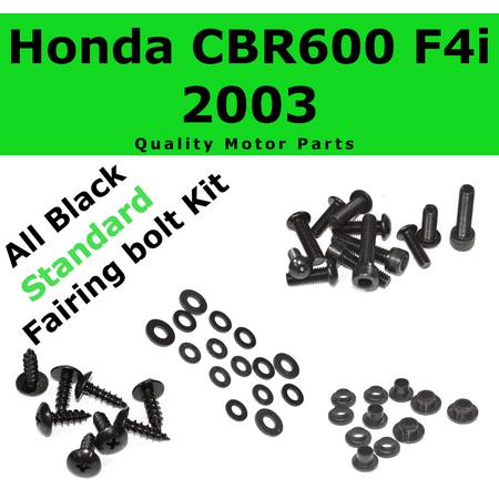 Black Fairing Bolt Kit for Honda CBR600F4i 2003 body screws fasteners Stainless