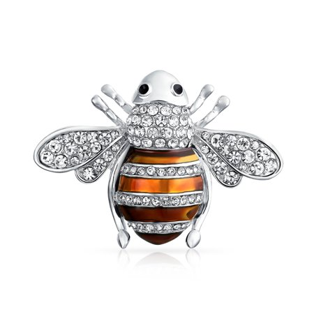 Black Or Golden Brown Crystal Large Fashion Statement Queen Bumble Bee Brooch Pin For Women For Mother Silver Plated Sterling Silver Womens Brooch