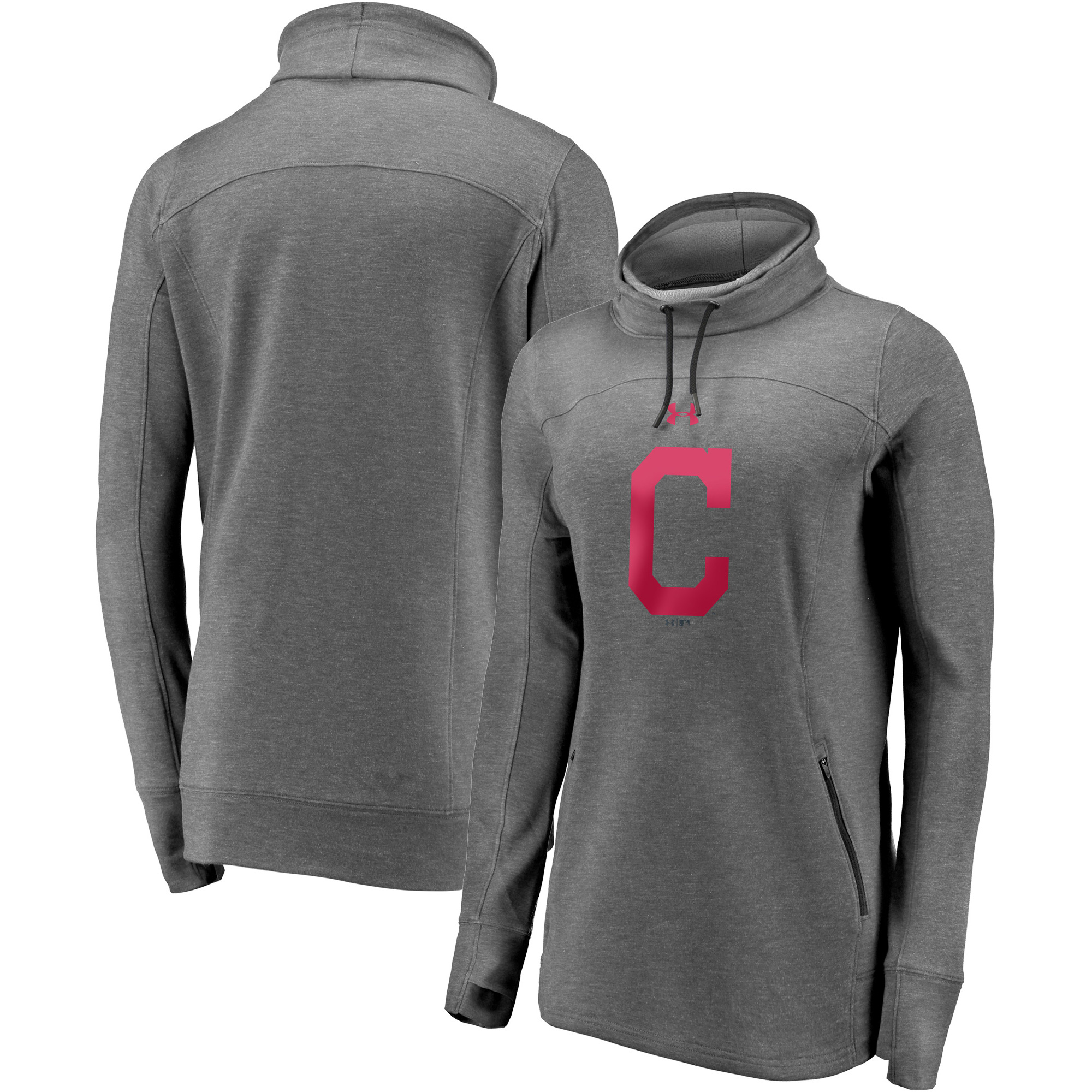 Cleveland Indians Under Armour Women's Team Mark Performance Tri-Blend Pullover Sweatshirt - Heathered Charcoal