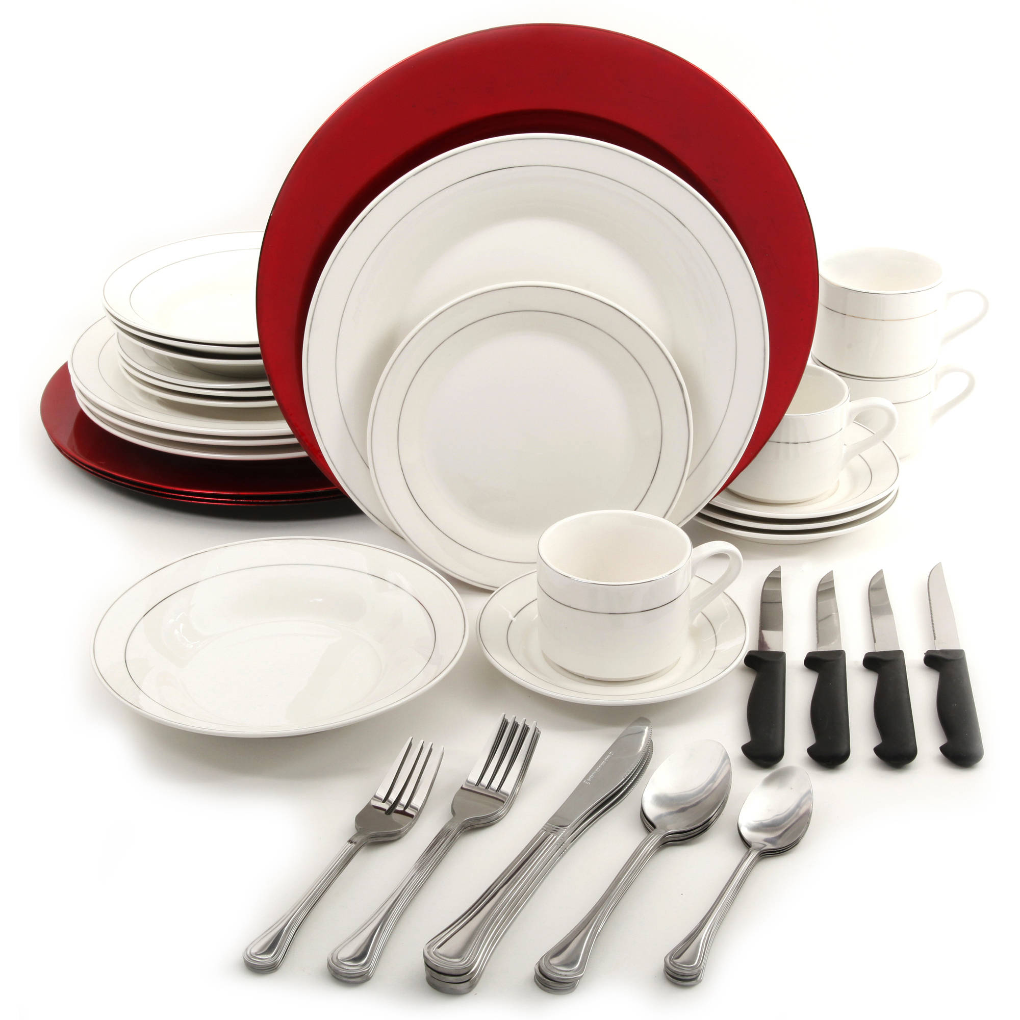 Gibson Home Total Table 48-Piece Platinum with Red Chargers Holiday Combo Dinnerware Set