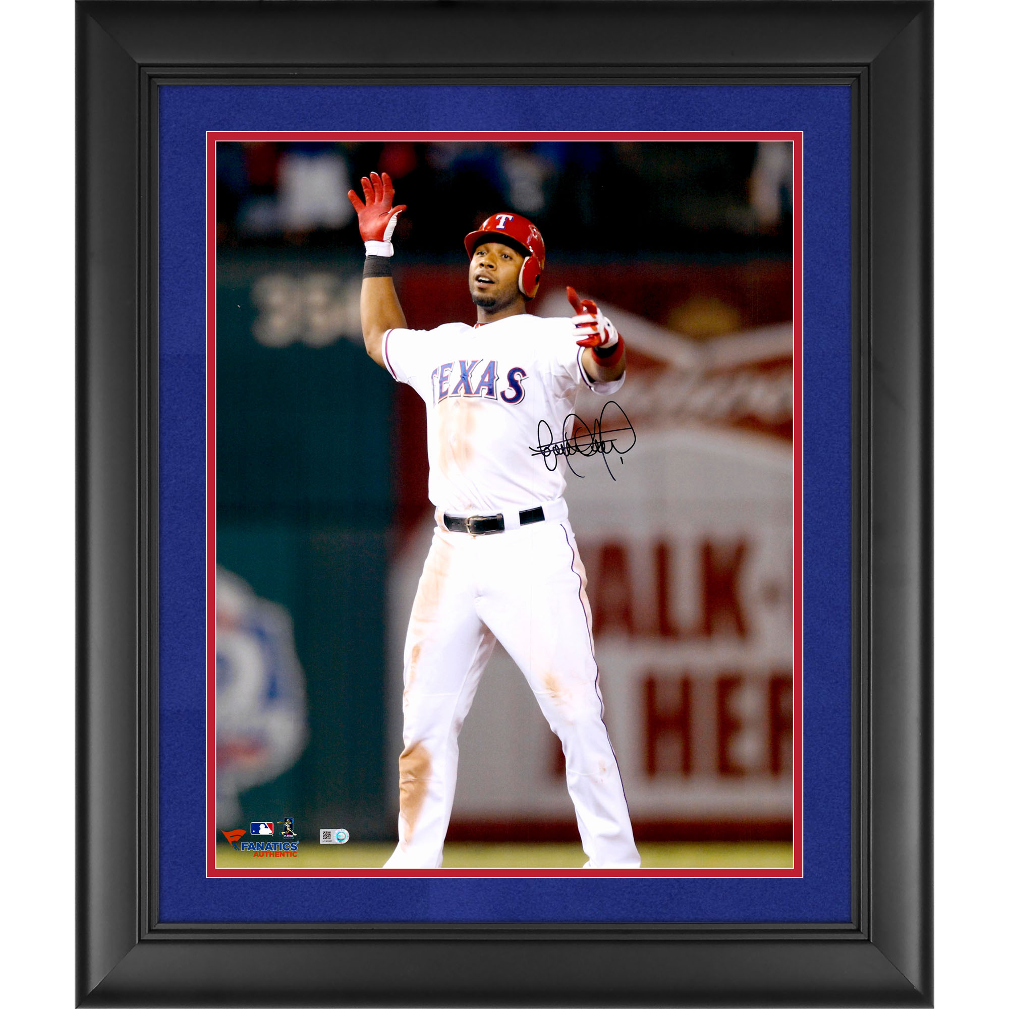 """Elvis Andrus Texas Rangers Fanatics Authentic Framed Autographed 16"""" x 20"""" Hands Up Standing Photograph - Suede Matting - No Size"""
