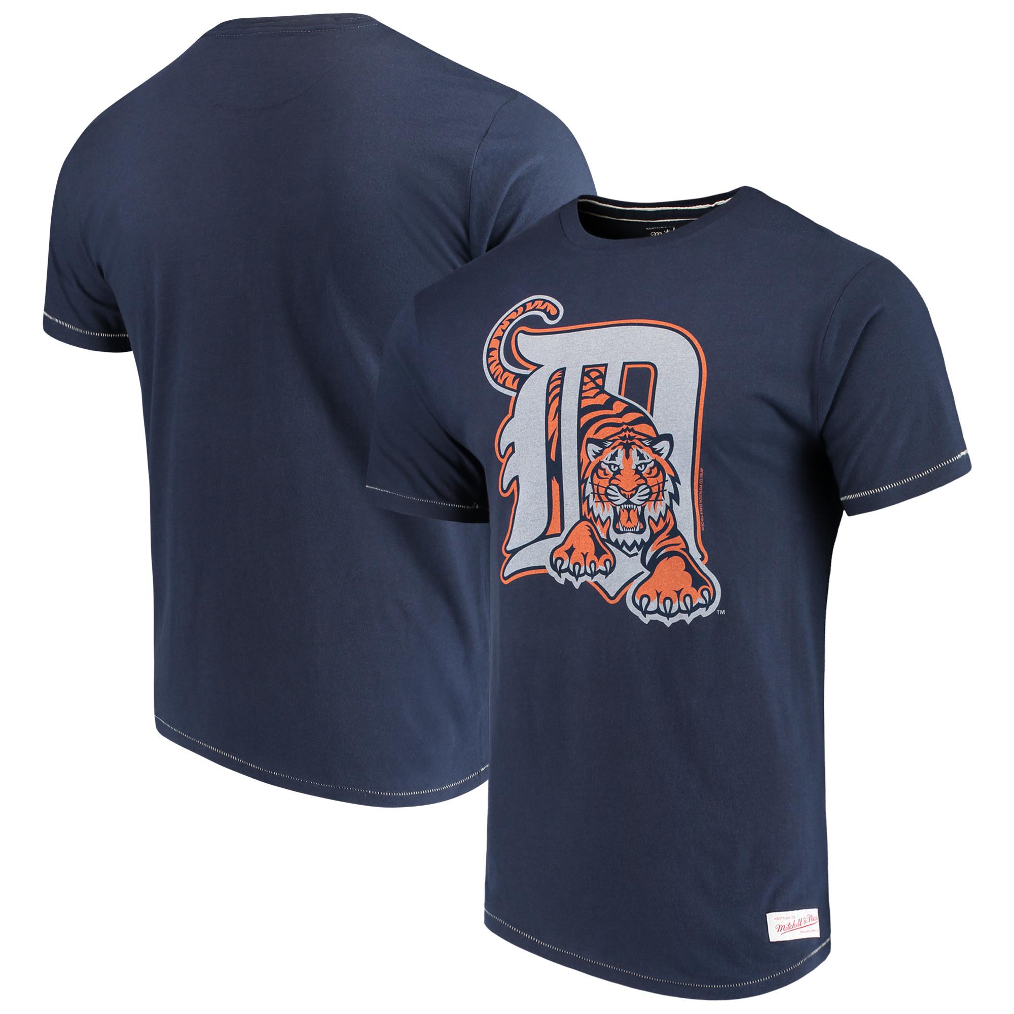 Detroit Tigers Mitchell & Ness XL Logo Tailored T-Shirt - Navy