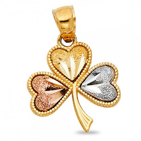 Clover Heart Pendant Solid 14k Yellow White Rose Gold Irish 4 Leaf Celtic Charm Polished 15 x 15 mm