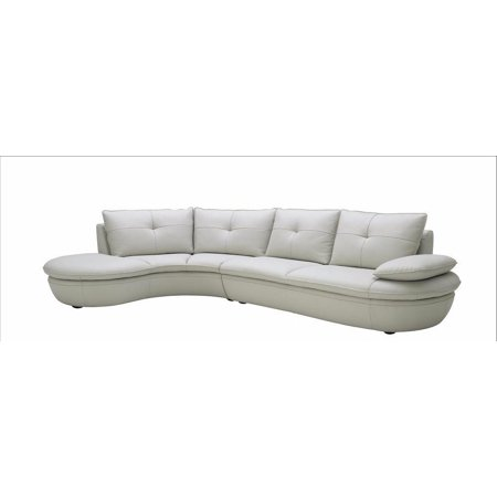 J&M 1176 Contemporary Premium White Leather Sectional Sofa Left Hand Chase