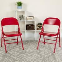 Flash Furniture 2 Pk. HERCULES Series Triple Braced & Double Hinged Red Metal Folding Chair