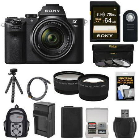 Sony Alpha A7 II Digital Camera + 28-70mm FE OSS Lens with 64GB Card + Backpack + Battery + Tripod + Tele/Wide Lens Kit