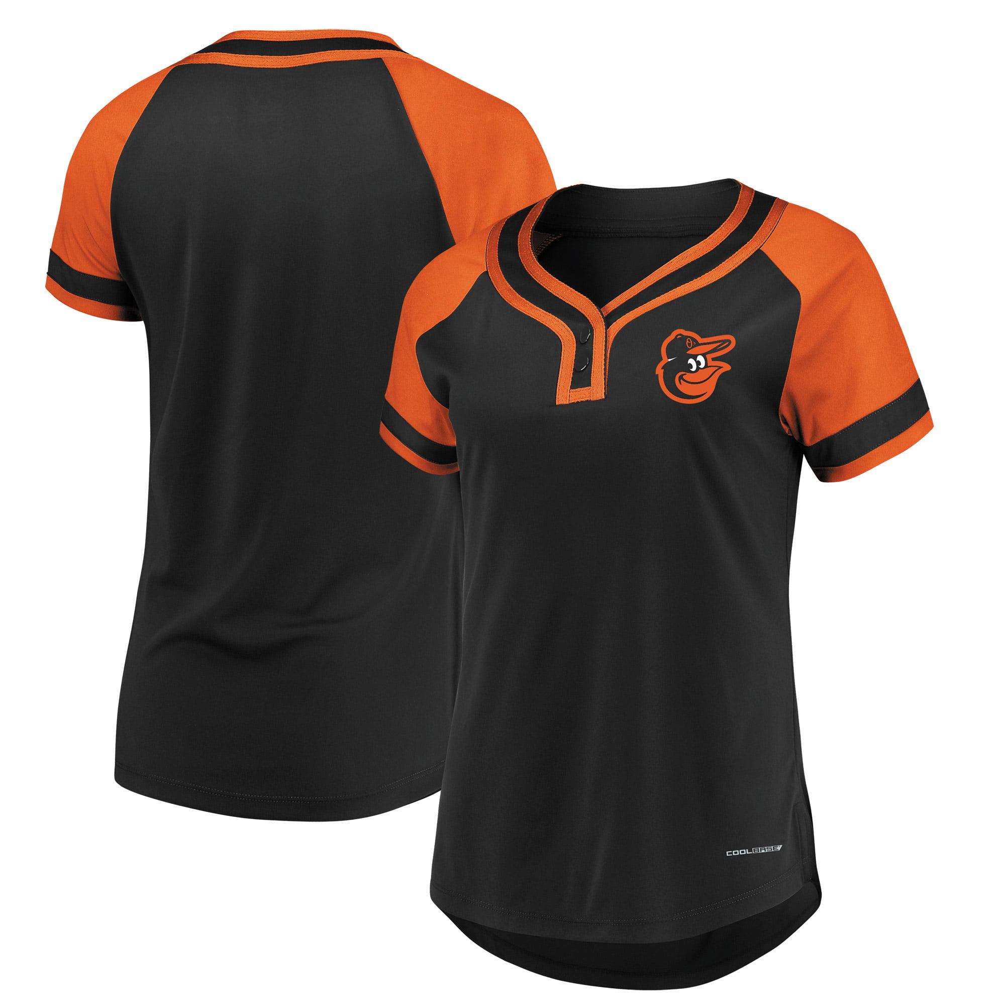 Baltimore Orioles Majestic Women's Plus Size League Cool Base T-Shirt Black Orange by Profile