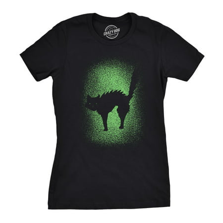 Hairless Cat Funny Halloween (Womens Glowing Cat Glow In The Dark Cool Halloween T Shirt Funny Kitty)
