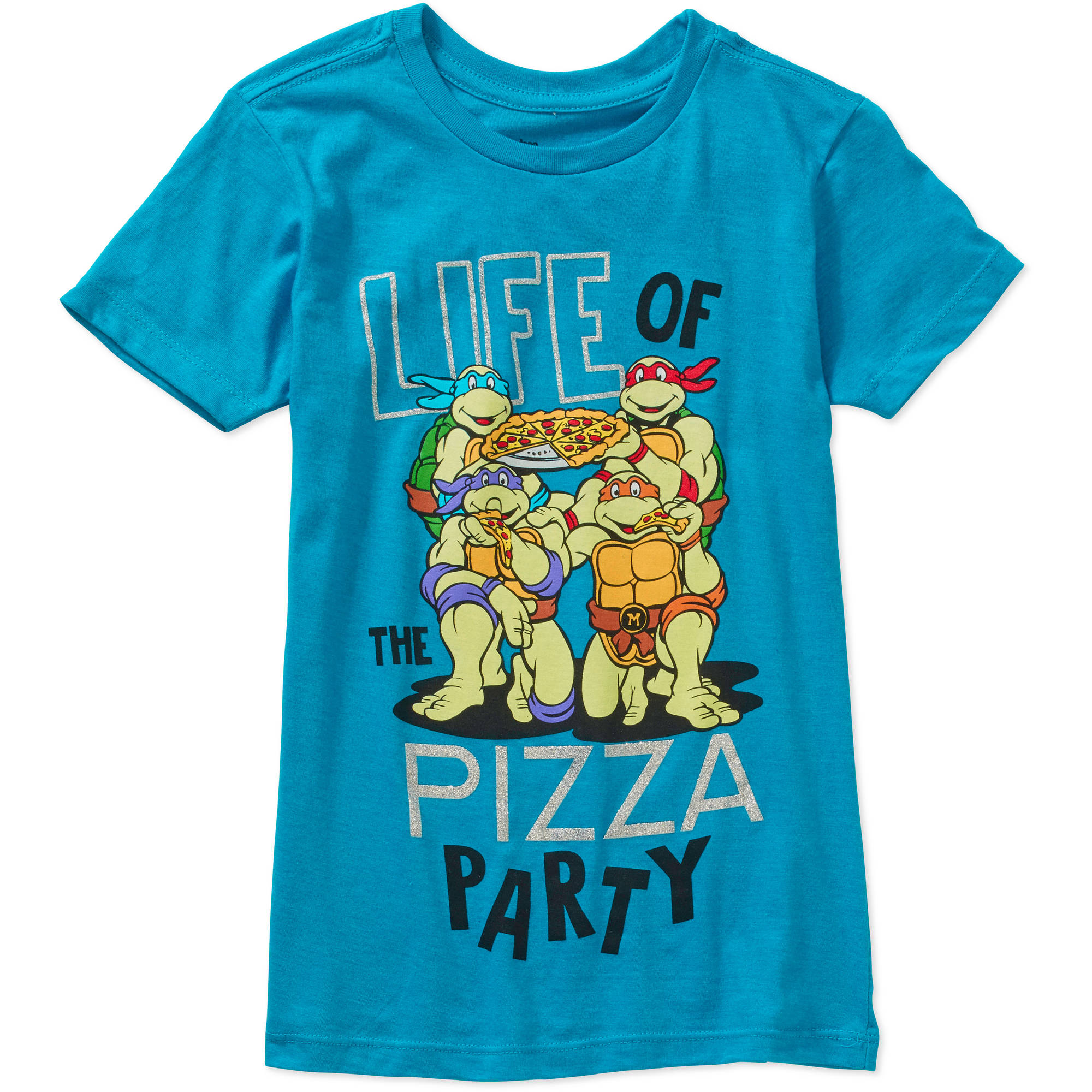 Teenage Mutant Ninja Turtle Girls' My Pizza Party Short Sleeve Crew Neck Graphic Tee