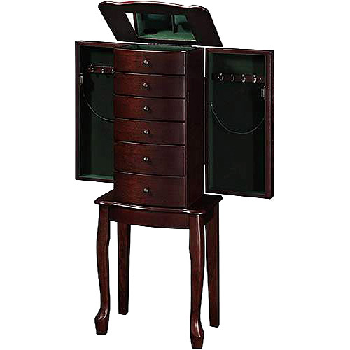 Wooden Jewelry Armoire With Lift Out Jewelry Box, Warm Cherry Finish    Walmart.com