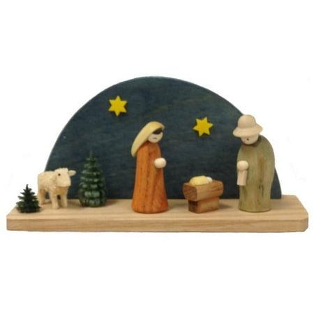 Colored Arched Miniature Nativity Scene German Wood Christmas Figurine Germany