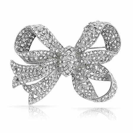 Large Bow Ribbon Shape Pave Crystal Wedding Bridal Brooch Pin Silver Tone Rhodium Plated (Diamond Plated Brooch)