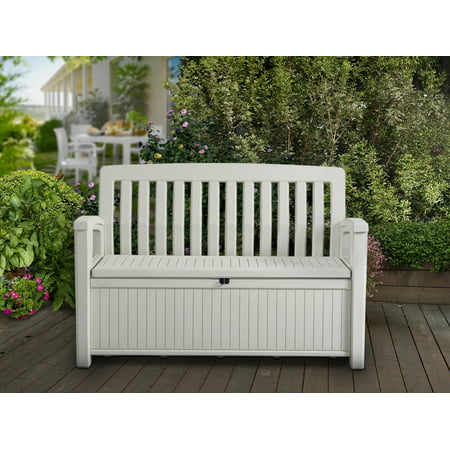 Keter 60 Gallon Resin Storage Bench, Plastic Patio Seating, White ()