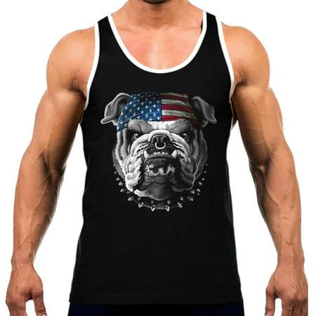 Men's American Bulldog Bandana Tee White Trim Black Tank Top Small Black ()