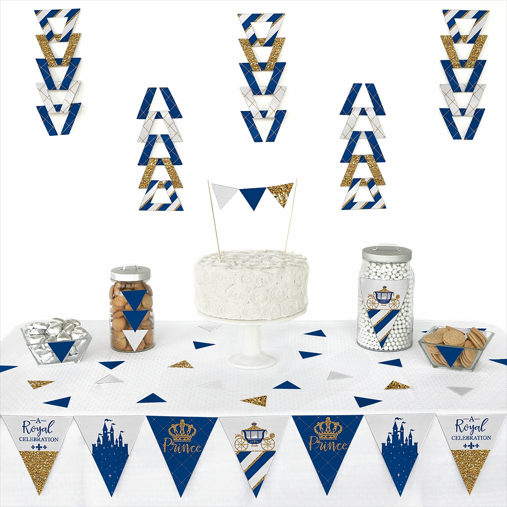 Royal Prince Charming - Triangle Baby Shower or Birthday Party Decoration Kit - 72 Piece