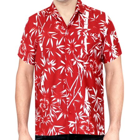Hawaiian Shirt Mens Beach Aloha Camp Party Holiday Button Down Pocket Bamboo Tree (Kamehameha Aloha Shirts)