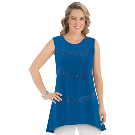 Women's Sleeveless Tunic Tank Top Sharkbite Hem Cotton with Chevron Lace Trim, X-Large, Royal Blue