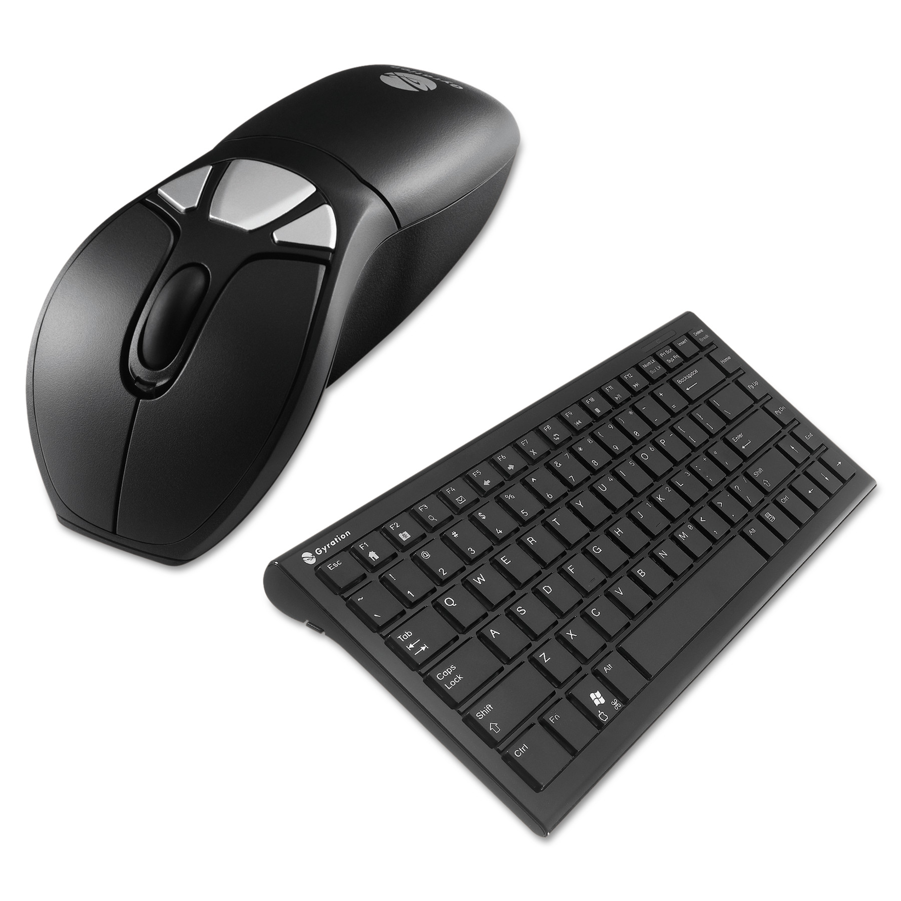 Gyration Air Mouse GO Plus Combo with Compact Keyboard, USB, Black/Silver