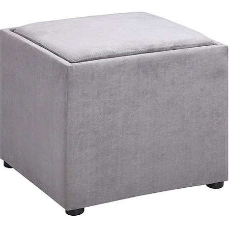 Remarkable Microfiber Square Storage Ottoman With Wood Tray Grey Gmtry Best Dining Table And Chair Ideas Images Gmtryco