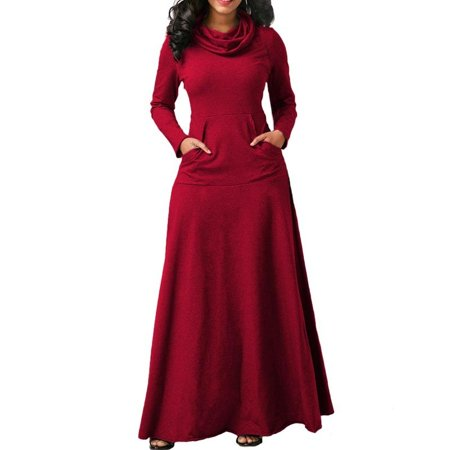 - Womens Long Sleeve Dress Pullover Jumper Long Skirt Cowl Neck Casual Party Pleated Maxi Robes