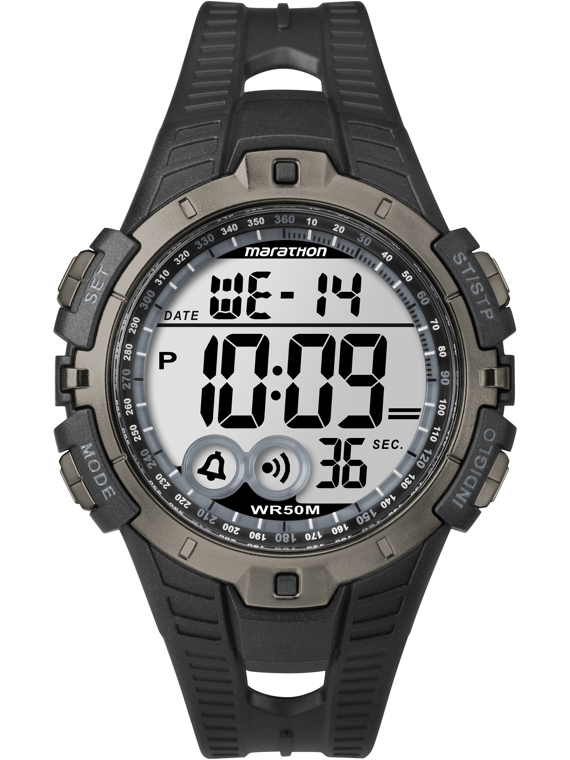 Marathon Men's Digital Full-Size Watch, Black Resin Strap