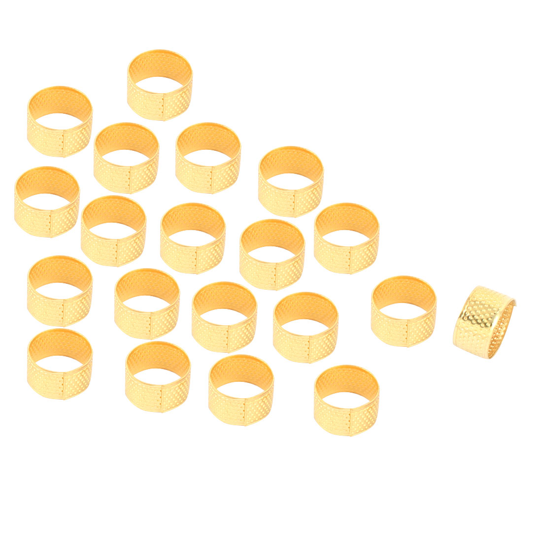 Metal Reeded Sewing Quilting Finger Protective Thimble Ring Gold Tone 20pcs