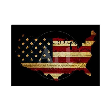 Declaration of Independence Grunge America Map Flag Print Wall Art By