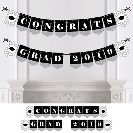 Silver Tassel Worth The Hassle - 2019 Graduation Party Bunting Banner - Silver Party Decorations - Congrats Grad - Graduation Party Banner