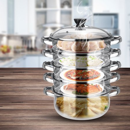 5 Tier Stainless Steel Steamer Steam Pot Cookware Steaming Cooking Pots with Visible Pot Lid Cooker Steam Diversion Design Applicable For Gas furnace Induction Cooker 3