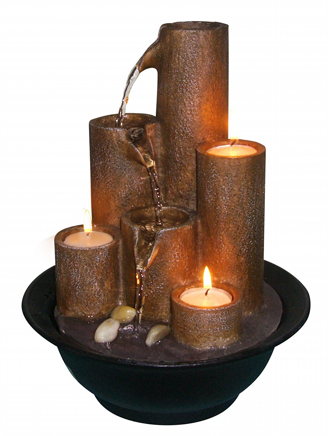 WCT202 Tiered Column Tabletop Fountain with 3-Candles, Made of Cast Stone Resin By Alpine by