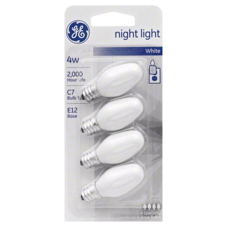 (8 Total) GE Incandescent 4W White Night Light E12 Base GE Night Light Bulbs White 4W. These speciality bulbs from GE offer innovatives solutions for a variety of lighting needs. Use specialty bulbs from GE for quality lighting everywhere. Nightlights from GE provide added comfort and security anywhere in your home. They can also be used for signal and indicator lights, toys and appliances.