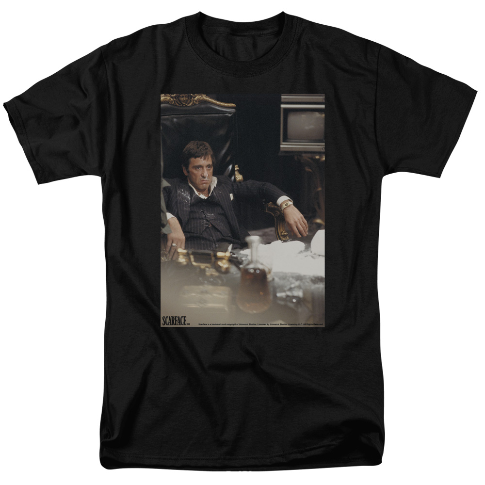Scarface 1983 Gangster Crime Drug Movie Tony Montana Sit Back Adult T-Shirt