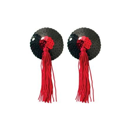 Black Sequin Pasties With Tassel, Sequin Pasties