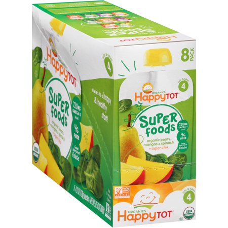 Happy Tot Organics Super Foods Pears  Mangos   Spinach   Chia Stage 4 Baby Food  4 22 Oz  8 Count
