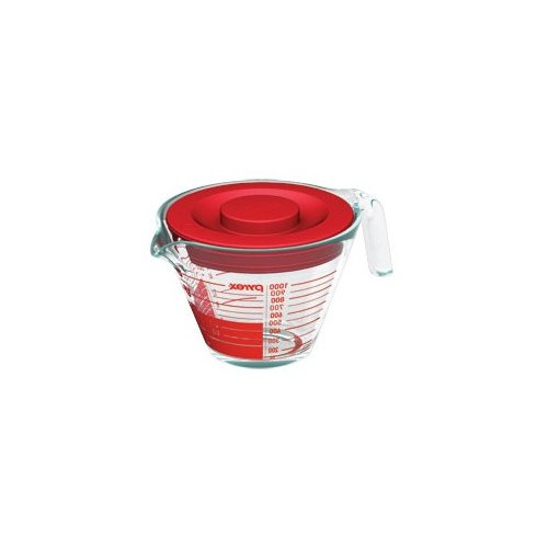 Pyrex 5.31'' Four-Cup Measuring Cup with Plastic Cover