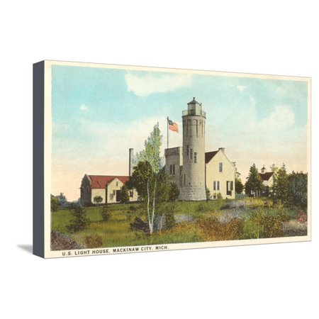 Lighthouse, Mackinaw City, Michigan Stretched Canvas Print Wall (Lighthouse Michigan City)