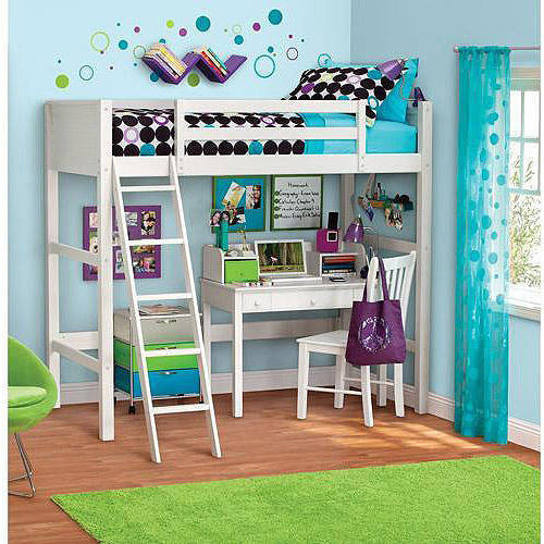 your zone zzz collection loft bed with mattress, white