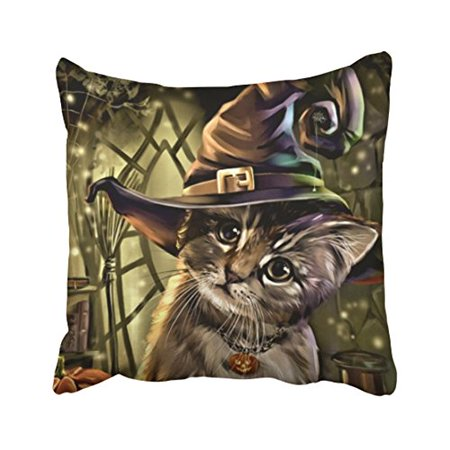WinHome Cute Cartoon Fashion Happy Halloween Witch Cat Watercolor Polyester 18 x 18 Inch Square Throw Pillow Covers With Hidden Zipper Home Sofa Cushion Decorative Pillowcases - Happy Halloween Cartoon