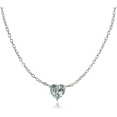Aquamarine Sterling Silver Small Dainty Heart Choker -
