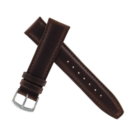 Hadley Roma MS881 20mm Long Watch Band Oiled Leather Brown Padded Mens