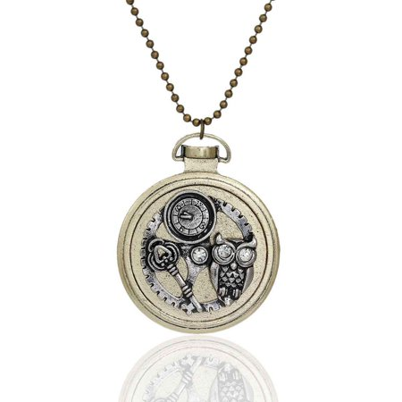 SEXY SPARKLES Steampunk Necklace Ball Chain Antique Bronze Round Halloween Owl Key Gear Pendant With Clear (Halloween Jewelry)