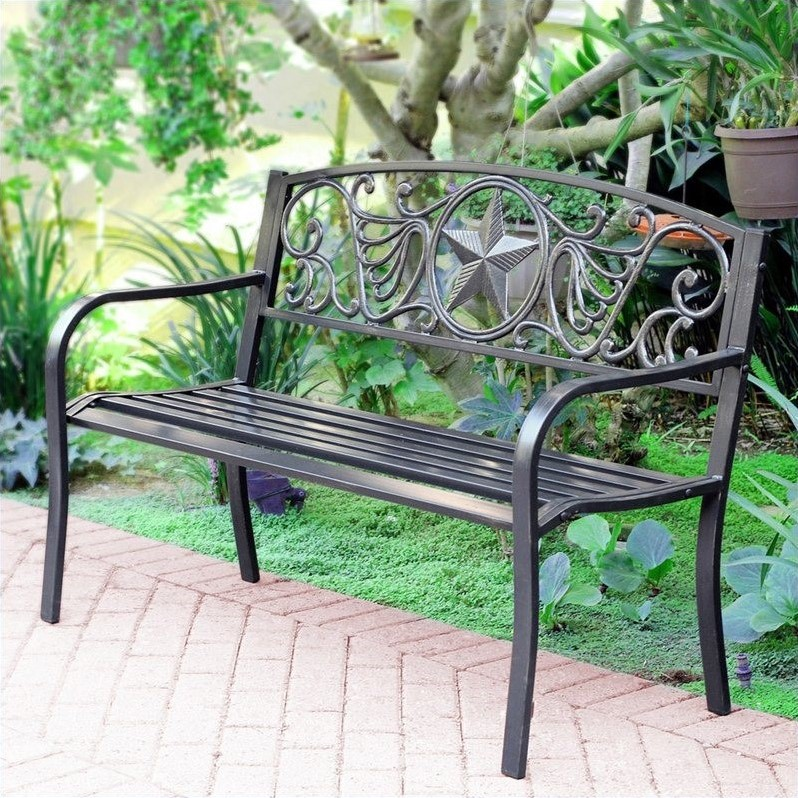 """Pemberly Row 50""""W Star Curved Back Steel Park Bench in Black and Gold"""