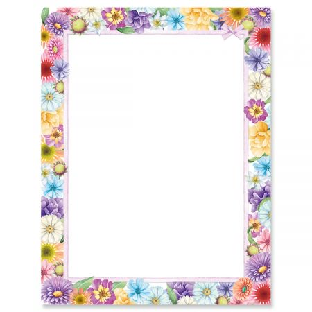"""Spring Floral Easter Letter Papers - Set of 25 spring stationery papers are 8 1/2"""" x 11"""", compatible computer paper, spring letterhead sheets great for Easter Flyers, Invitations, or Letters"""