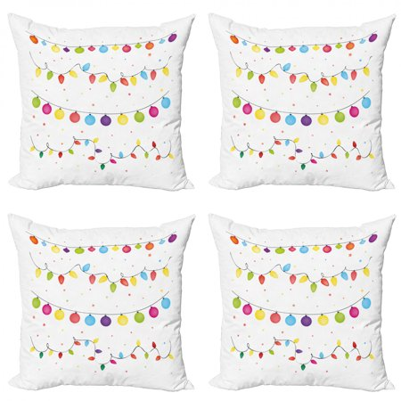 Christmas Throw Pillow Cushion Case Pack of 4, Preparations for Party of the Year Theme Occasion Happy Event Xmas, Modern Accent Double-Sided Print, 4 Sizes, Multicolor, by Ambesonne