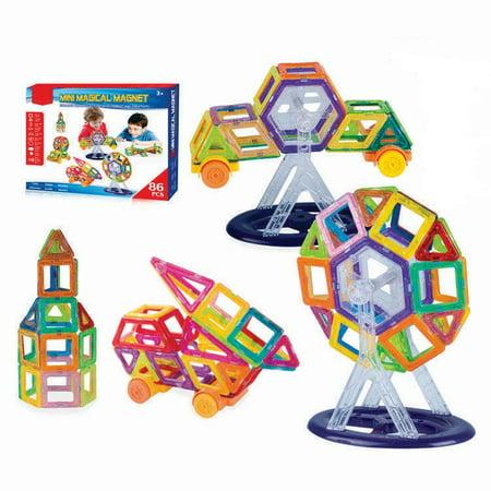 Mini Magnetic Blocks 86 pcs, Magnetic Tiles Building Blocks Magnetic Construction Set Multicolor Educational Toys