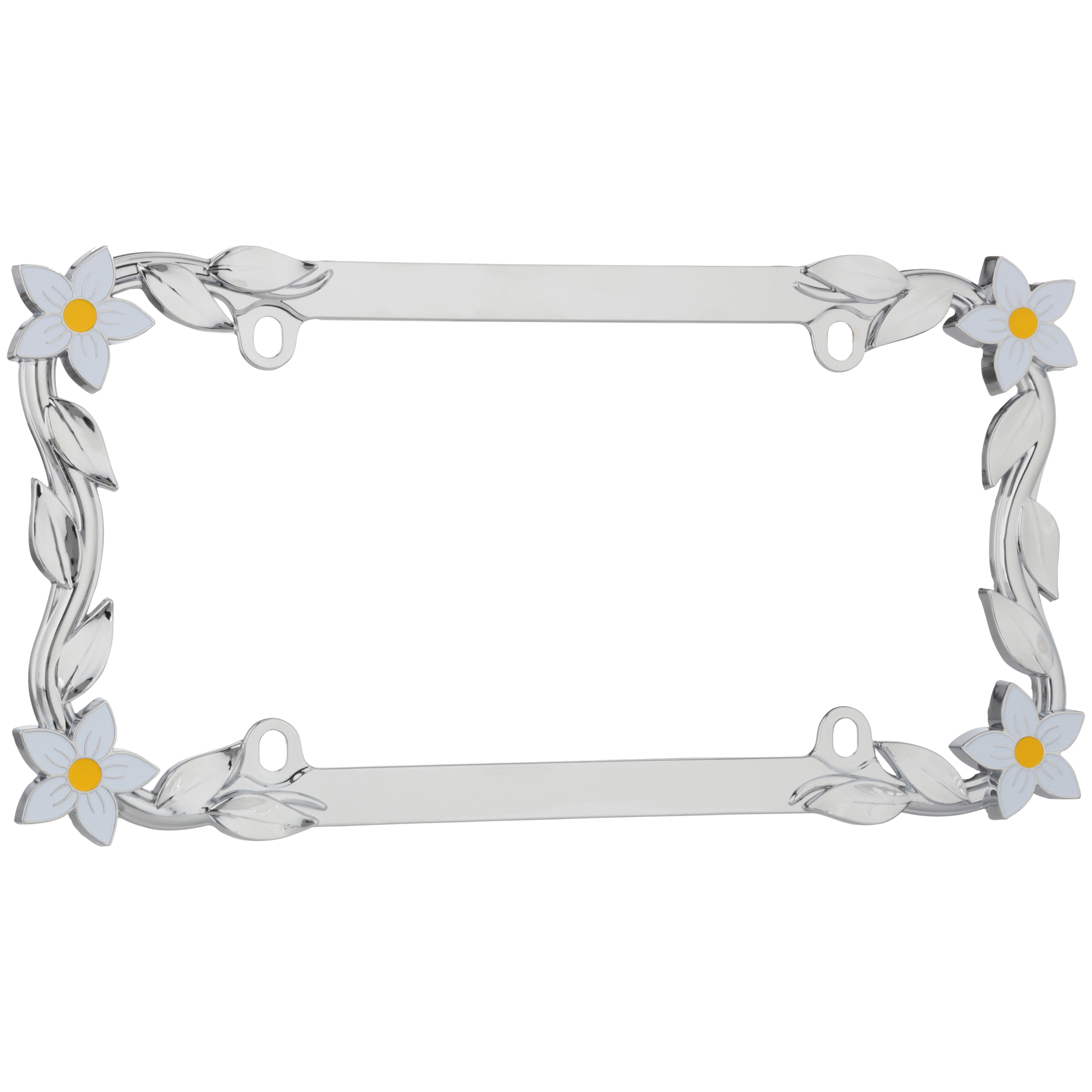 w//Fastener caps Cruiser Accessories Chrome 1 23053 Butterfly License Plate Frame
