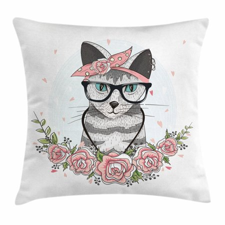Kitten Throw Pillow Cushion Cover, Hipster Cool Cat with Spectacles Scarf Necklace Earrings and Flowers Little Hearts, Decorative Square Accent Pillow Case, 20 X 20 Inches, Multicolor, by Ambesonne