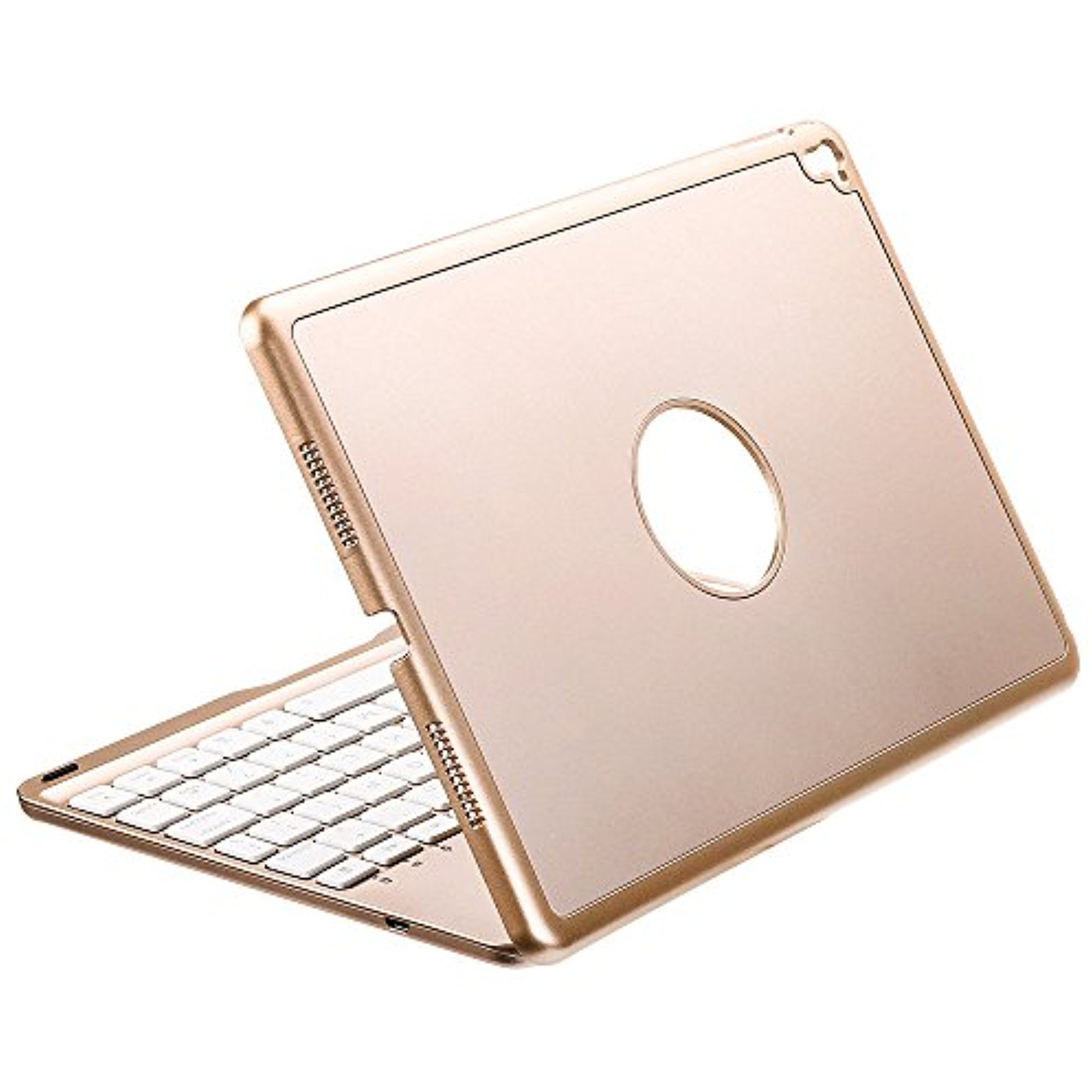 iEGrow F8Spro Portable Protective Bluetooth Keyboard Case for iPad Pro 9.7 Inches A1673 A1674 A1675,Rose Gold